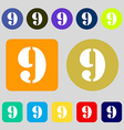 number Nine icon sign 12 colored buttons Flat vector image