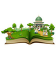 open a book with group of muslim people shaking ha vector image vector image