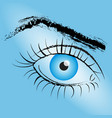 painted eye with blue pupil on a blue background vector image vector image