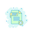 pdf icon in comic style document text cartoon on vector image vector image