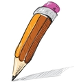Pencil sketch cartoon vector image