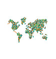 population world map houses and green tree vector image
