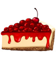 Red cherry cheesecake vector image