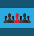 red unique chess pawn standing among gray ones vector image