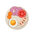 Served Breakfast with Fried Egg and Vegetables vector image vector image