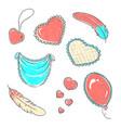 set hand drawn hearts in vector image vector image
