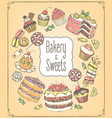 set hand-drawn icons pastries and sweets vector image