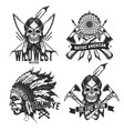 set of vintage native american emblems vector image vector image