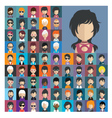 set people icons in flat style with faces 16 a vector image vector image