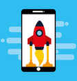 smartphone device with startup rocket isolated vector image