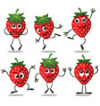 strawberry fruit character set vector image vector image