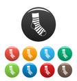 striped sock icons set color vector image vector image