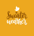 sweater weather hand lettering maple leaf vector image vector image