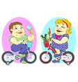 two fat people on bicycles vector image vector image