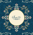 vintage floral frame on damask background vector image vector image