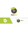 wheel and leaf logo combination tire and vector image vector image