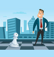 businessman standing on a chess board concept vector image