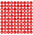 100 europe icons set red vector image vector image