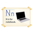 A letter N for notebook vector image vector image