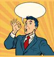 businessman surprise ok gesture vector image