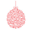 christmas bauble icon background holiday greeting vector image