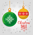 christmas sale poster offer decoration balls snow vector image