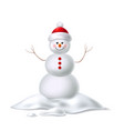 cute realistic snowman in hat with sticks vector image vector image