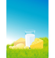 dairy products lying on green grass - vector image vector image