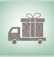delivery gift sign brown flax icon on vector image vector image