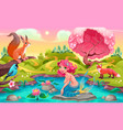 fantasy scene with mermaid and animals vector image vector image