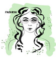 fast fashion sketch of a girl in green colour vector image