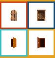 flat icon door set of saloon approach wooden vector image vector image