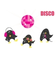 Funny cartoon Disco penguins vector image vector image
