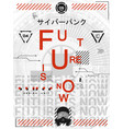 futuristic retro poster and text - future is now vector image vector image
