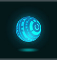 futuristic spherical hud glowing on dark blue back vector image