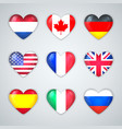 glass heart flags countries icon set vector image