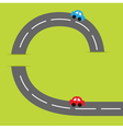 Grasss and road cartoon cars vector image vector image