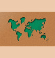 green eco earth world map in paper cut style vector image vector image
