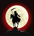 grim reaper ride horse vector image vector image