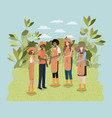 group of women planting trees in the park vector image vector image