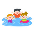 happy children boys and girls swimming at beach vector image