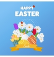 Happy Easter Card with Grass Flowers Poster vector image vector image