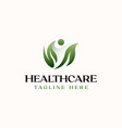 healthcare people leaf logo template isolated in vector image