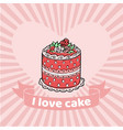 i love cake pink poundcake on vector image