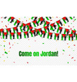 jordan garland flag with confetti on transparent vector image vector image