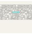 Kitchen Utensils Line Art Seamless Web Banner vector image vector image