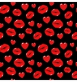 Lips Kiss Love and Heart Seamless Pattern vector image vector image