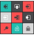 login web icon set on a color square vector image vector image