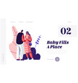 man touch belly pregnant wife young family vector image vector image