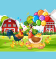 many chickens in party theme in farm background vector image vector image